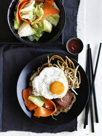 Adam Liaw's Singaporean soul food (economy fried noodles). Start or finish your day with typical hawker food. Load your plate high with noodles, cabbage and egg, and add extra toppings should you wish.