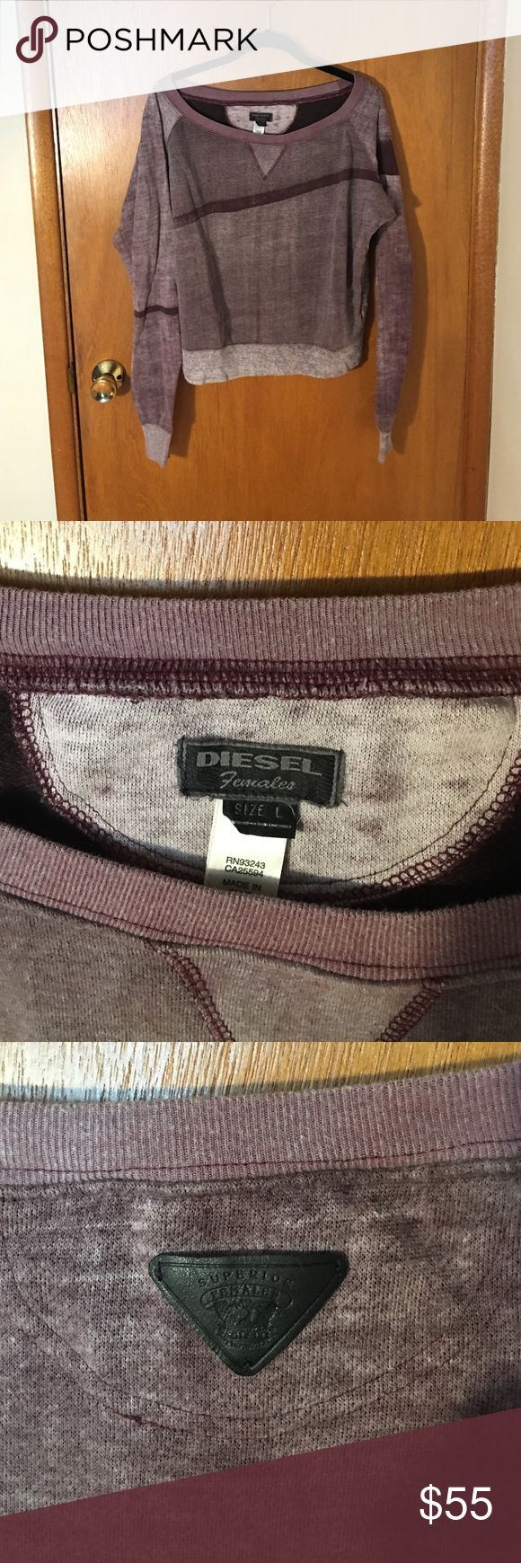 Diesel Cropped Burgundy Sweatshirt This great Diesel Sweatshirt is Cropped in length with blush and Burgundy in the weathered print. In excellent condition. Diesel Tops Sweatshirts & Hoodies