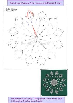ED083 White Snowflake on Craftsuprint designed by Emy van Schaik - Stitching with beads - Now available for download!