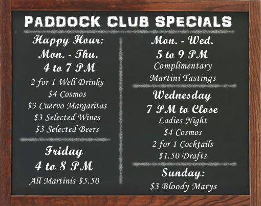 Paddock Club- Martini bar -Happy Hour Drink Specials