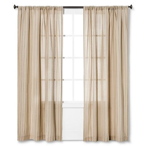 These are great.  Natural relaxed look, a little vintage feel with the linen and tiny pinstripe.  Not too bold....sort of like an old canvas bag but lighter feeling.  Nate Berkus™ Pinstripe Curtain Panel