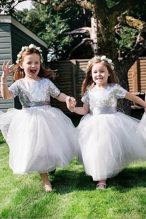 93f66b83f Short Sleeves Silver Sequin Wedding Party Dress for Children | beautiful  dresses | Dresses, Wedding party dresses, Sequin wedding