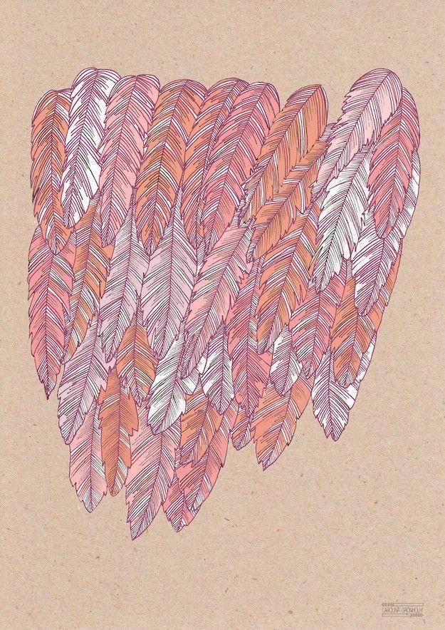 All Feathered, red - Carolina Grönholm Illustration & Design #nordicdesigncollective #carolinagronholm #carolinagronholmillustrationochdesign #allfeathered #feathered #feathers #feahter #red #redfeather #poster