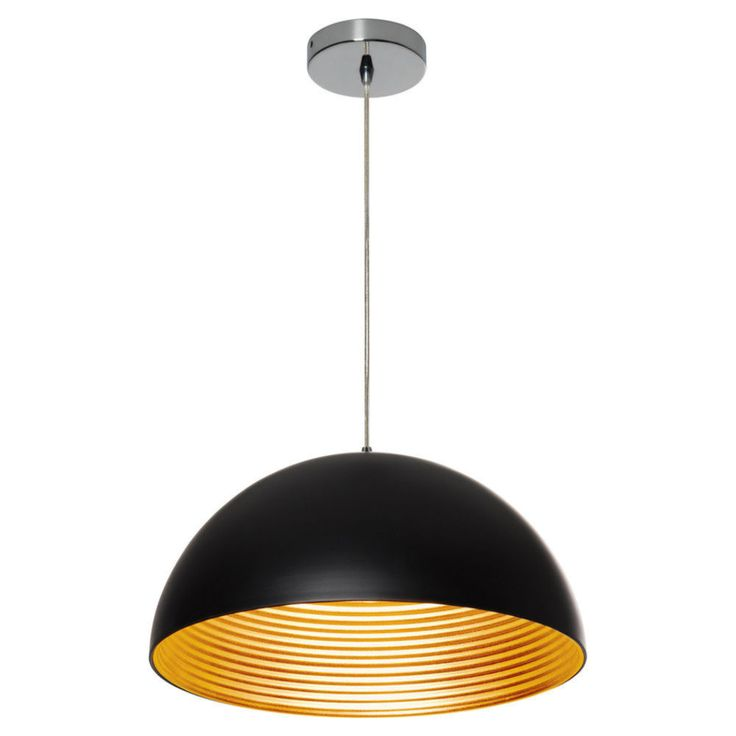 Dome Pendant Black With Gold - Masters Home Improvement