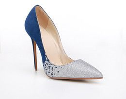 2016 new Fashion silver vermicelli Color matching OL Occupation Genuine leather ladies single shoes pointed toe woman pumps