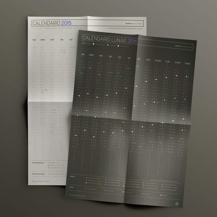 Este nuevo calendario conceptual 2015 se divide en dos piezas gráficas de 50 x 70 mm, un calendario anual y otro lunar. El calendario anual en formato vertical tipo poster muestra cada uno de los 12 meses del año de forma lineal detallando los días de cad…