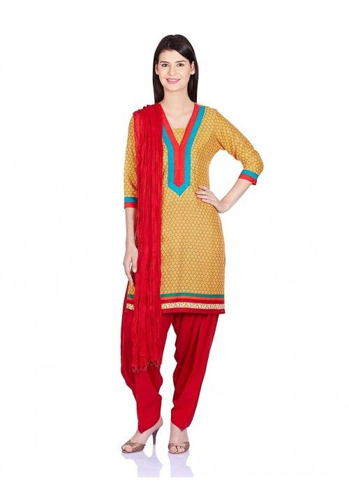 8e5ab07c30 COTTON RED #KURTI WITH YELLOW #PATIALA #SALWAR AND #DUPATTA The latest  design on this suit set from Jaipur Kurti see it now you are interested for  this ...