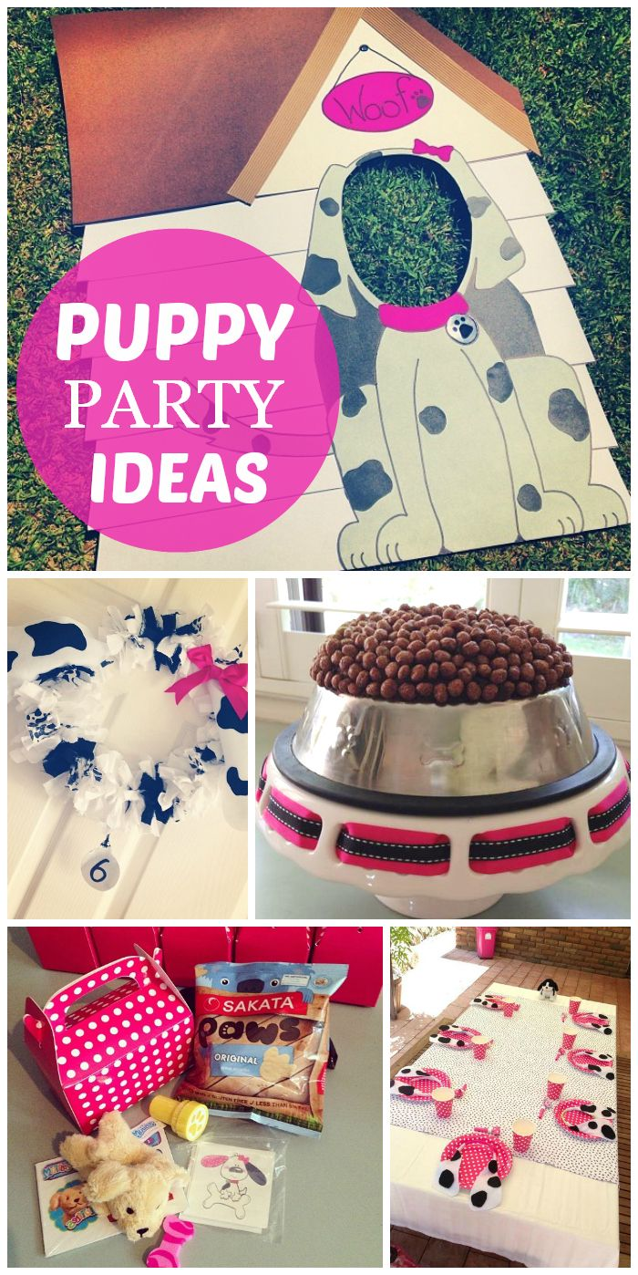 "What a fun puppy birthday party with photo props, a ""kibble"" cake, black and white wreath and party favors! See more party ideas at CatchMyParty.com!"