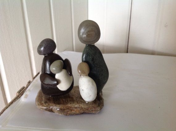 Beach stone art Inuit art Family art decor Pebble art Stones and pebbles Rocks and geodes Stone sculptures Natural stones