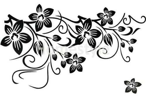 Vinilo decorativo flores blanco y negro 8280 - Papel de pared blanco y negro ...