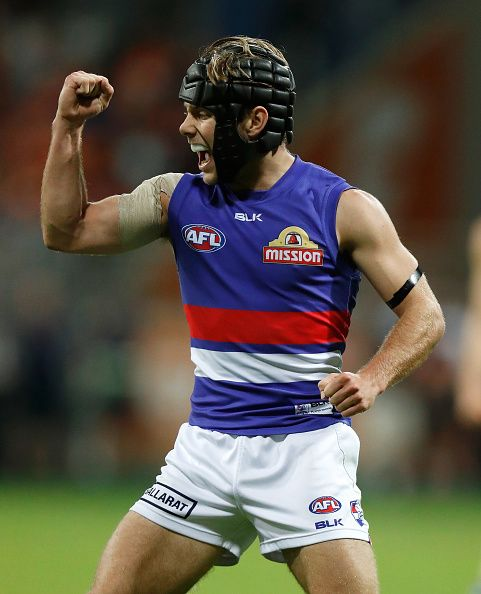 Caleb Daniel of the Bulldogs celebrates a goal during the 2016 AFL First Preliminary Final match between the GWS Giants and the Western Bulldogs at...