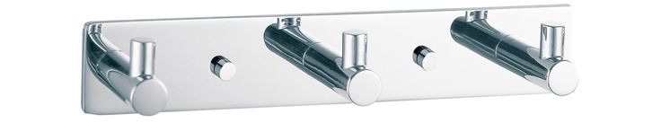 DWBA Hook Rail/Coat Rack with 3 Hooks, 7-Inch, Stainless Steel Chrome Plated