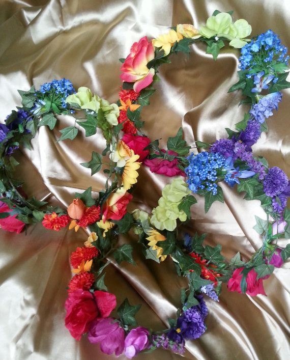 RAINBOW FLORAL FAIRY wreaths/crowns by treasuredlight on Etsy