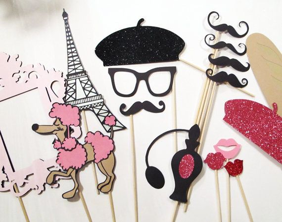 Photo Booth Props - C'est La Vie Collection - Parisian Inspired Photobooth Props. $60.00, via Etsy.