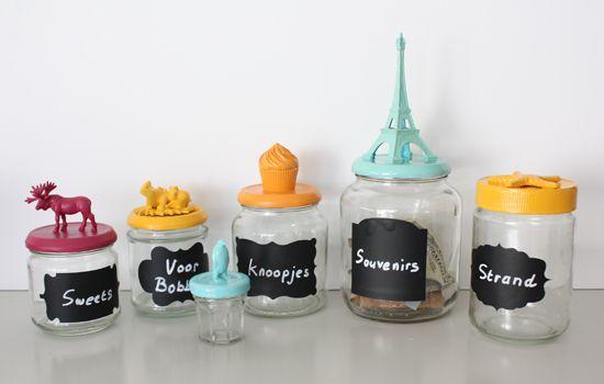 Recyclen van glazen potten naar opberg blikvangers