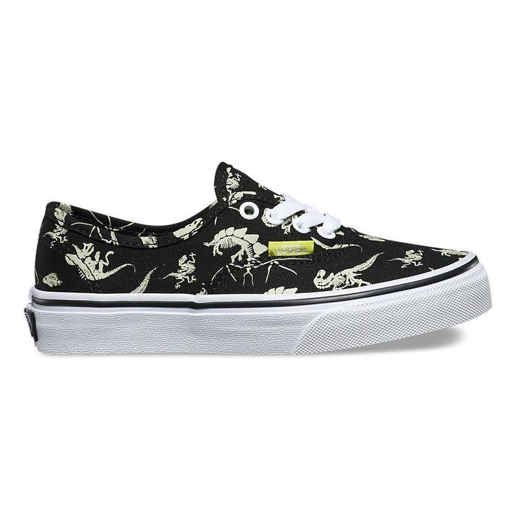Vans Kids Glow In The Dark Authentic Shoes - Dinosaur/Black