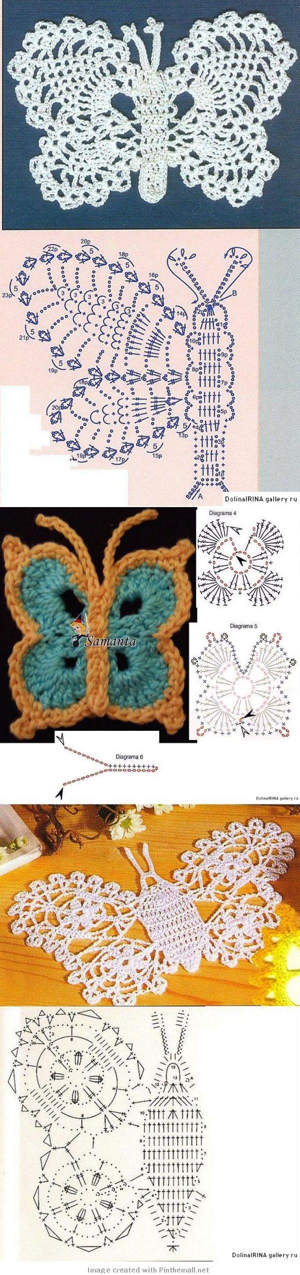 ❤ ♥  Aplique de Crochê Borboleta -  /   ❤ ♥ Apply Crochet  Butterfly -
