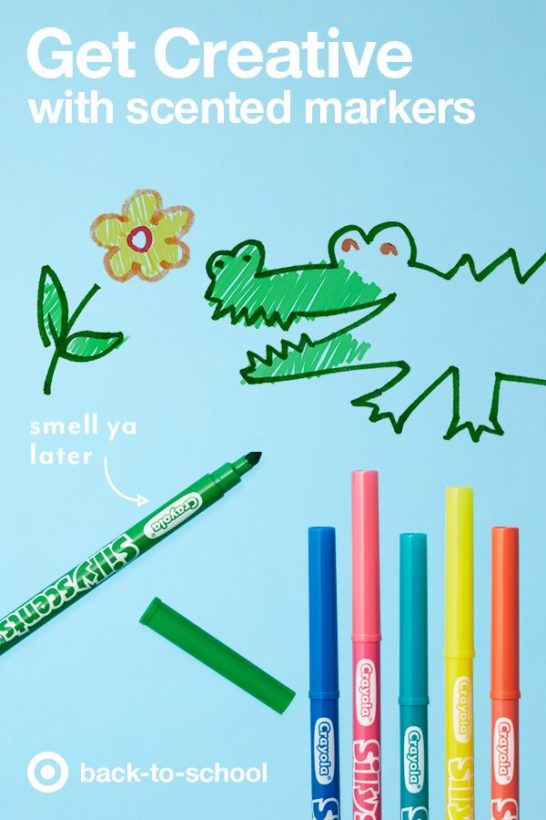 Back to school means a lot of things: new clothes, new backpacks, but most of all—new school supplies like these Crayola Silly Scents Markers to make any and every art project a little more fun. Get prepped to create amazing projects that you can see and smell, like a beautiful flower garden, a rainbow bakery, or an adorable nosey alligator.