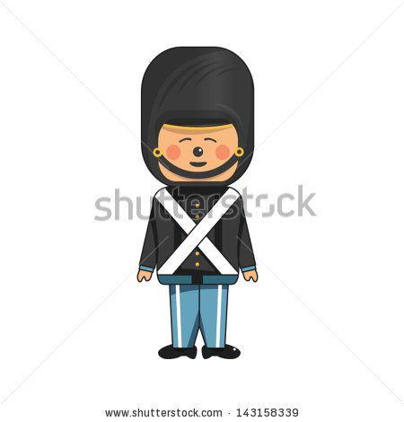 Happy soldier in black uniform - stock vector