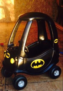 Batmobile DIY Little Tikes Cozy Coupe upcycle. Step by step directions with pictures!