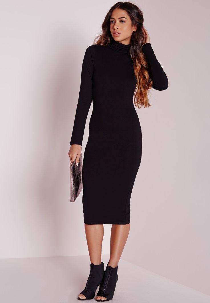 Missguided - Long Sleeve Roll Neck Jersey Midi Dress Black
