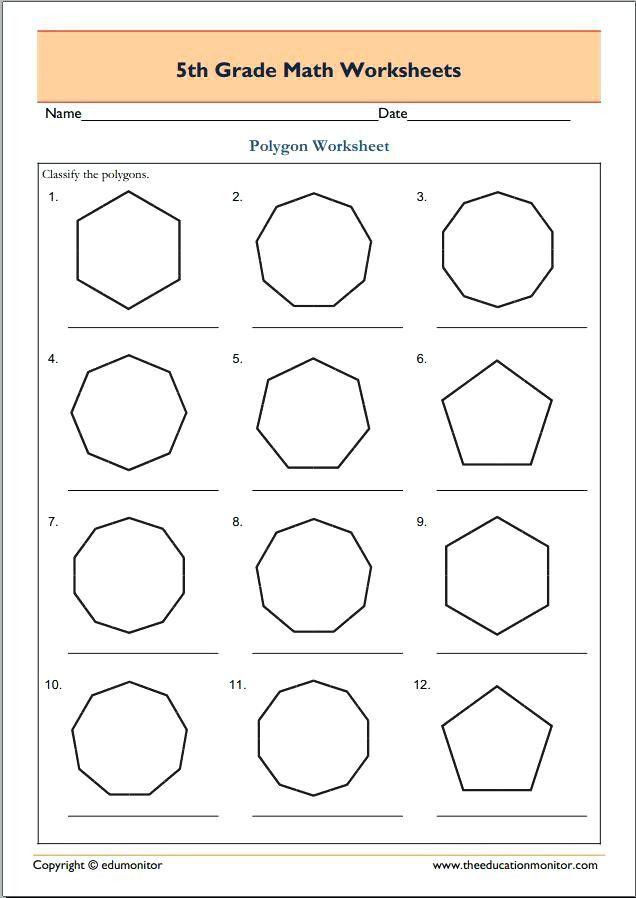 Polygon Worksheets 5th Grade Polygon Worksheets Regular Polygons Shapes Printable Upgrade Geometry Worksheets Math Worksheets Math Geometry