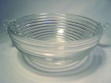 VINTAGE 1938-1943 Anchor Hocking Manhattan Clear Large Fruit Bowl with Handles