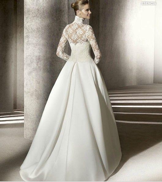 Custom Made V Neck Lace Top Plain Satin Elegant Long: 17 Best Images About Wedding Dresses On Pinterest