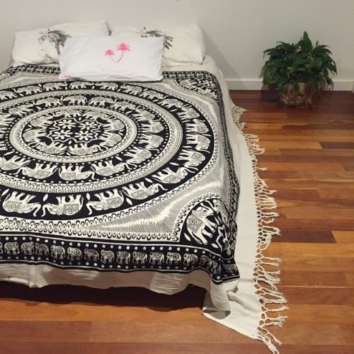Indian-Elephant-Mandala-Tapestry-Hippie-Wall-Hanging-Queen-Size-Bedspread-Decor
