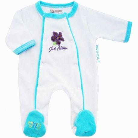 5df0bc49c8eab Pyjama bébé fille en velours blanc et turquoise Joli Colibri brodé hibiscus  Les Chatounets à 12