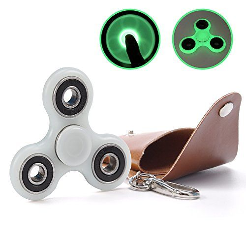 Cheap price Tri Fidget Hand Spinner Toy ULG Fluorescent Premium Hybrid Ceramic Bearing Desk Focus Finger Gyro Toys with Leather Bag for Adult Children on sale