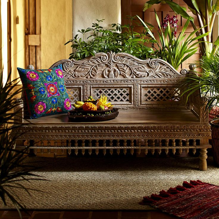 World Market Handcarved Bench!