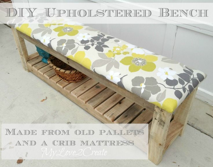 DIY Upholstered Bench - MyLove2Create : You will be AMAZED at how easy this is to do!