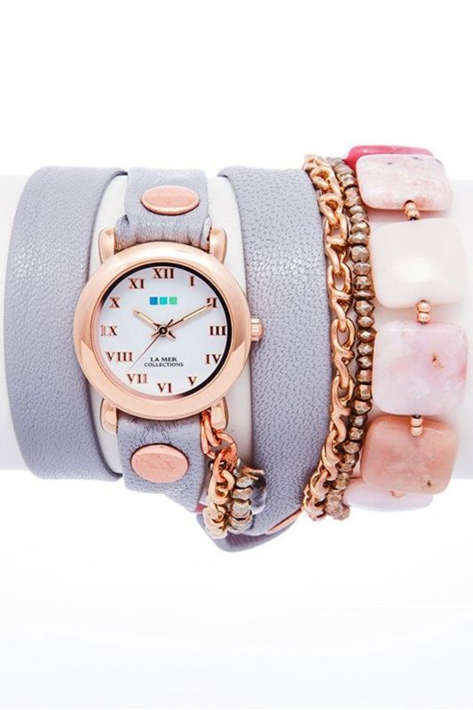LMMULTI1005 - La Mer Collection Pink Opal-Copper Pyrity Stone Wrap dames horloge