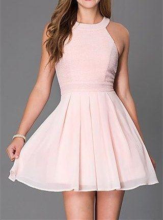 Cute Short Homecoming Dress,Blush Pink Sleeveless Short Cocktail Dress,Halter Sexy Homecoming Dress,Chiffon Party Dress