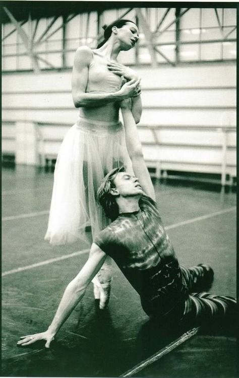 """Diana Vishneva rehearsing Giselle with Vladimir Malakhov, """"As a member of a big company, you never have the chance to feel independent in your creative life...Of course it's great to do the classical repertoire, but I am always looking for something else too. If you are not growing as an artist, you might as well stop."""""""