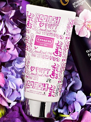 Love tha handdrawen typo!  A fresh scented skin cream from Coach. #beauty #gifts
