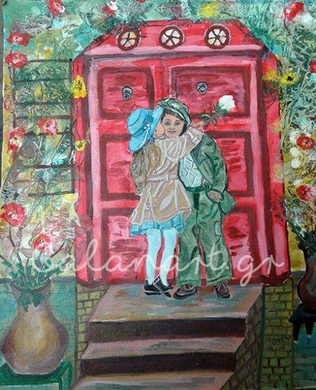 Ζωγραφική -ακρυλικό σε καμβά  Διαστάσεις: 49χ56 cm  Τίτλος : Αγάπη αγνή ,σαν το λευκό τριαντάφυλλο  Κωδ :190-17  Agathi Galan