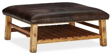 Caden Leather Square Ottoman - rustic - ottomans and cubes - Pottery Barn