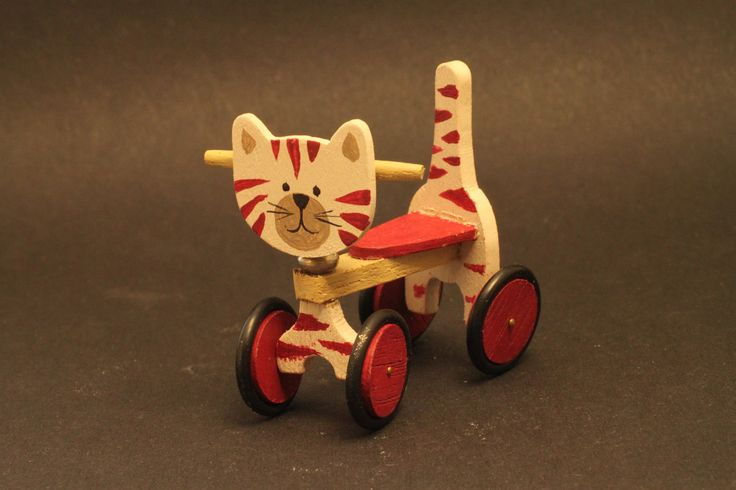 Toy cat on castors 1/12 scale for dollhouse