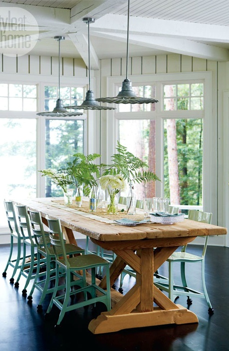 Farmhouse Style Dining room. Love the lights , the chairs, and the light!
