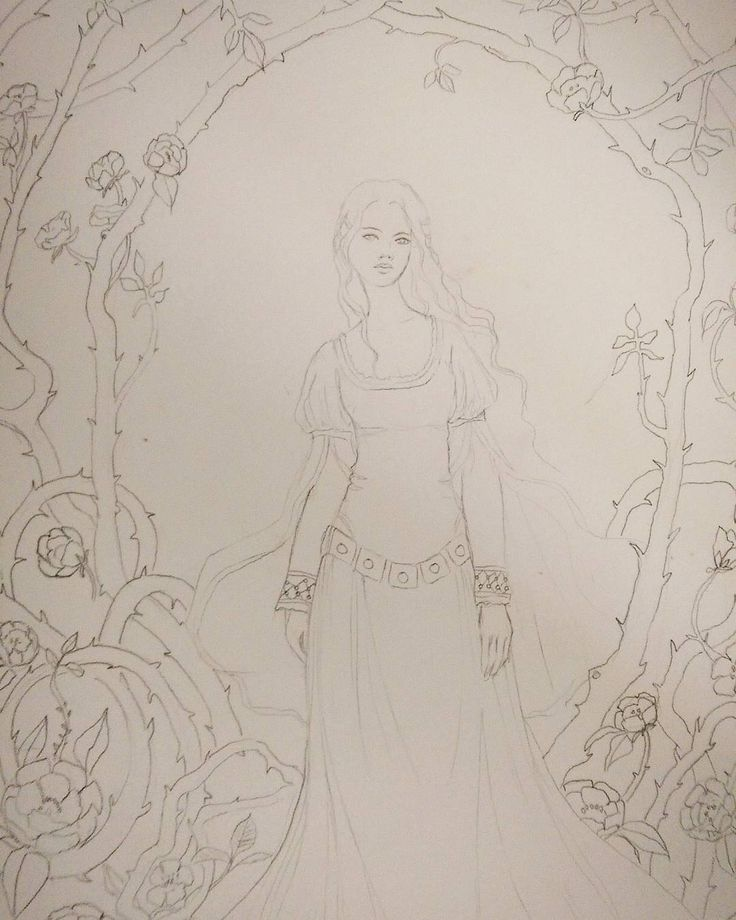 Sketching for the #FemmeThouArt collective art piece. Briar rose. . .  #fairytaleart #briarrose #pencildrawing #sketching #artcollective #artistsofinstagram #princess #roses #briars #wip