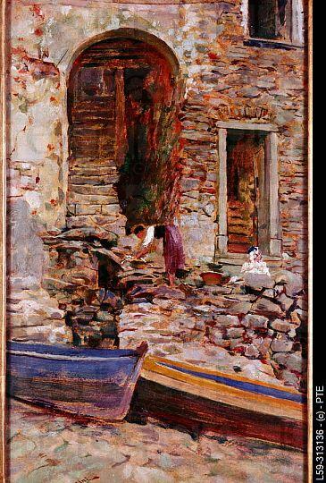 Riomaggiore, painting by Telemaco Signorini