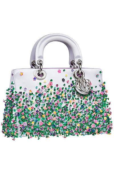 Dior White Floral Embellished Diorissimo Bag - Fall 2014