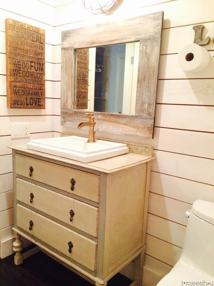 Farm House Style Bathroom With Ship Lap Walls Faux