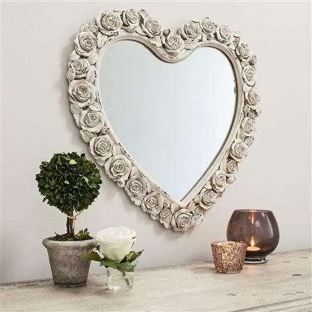 £49 Roses Heart Mirror, Cream  - achica.com