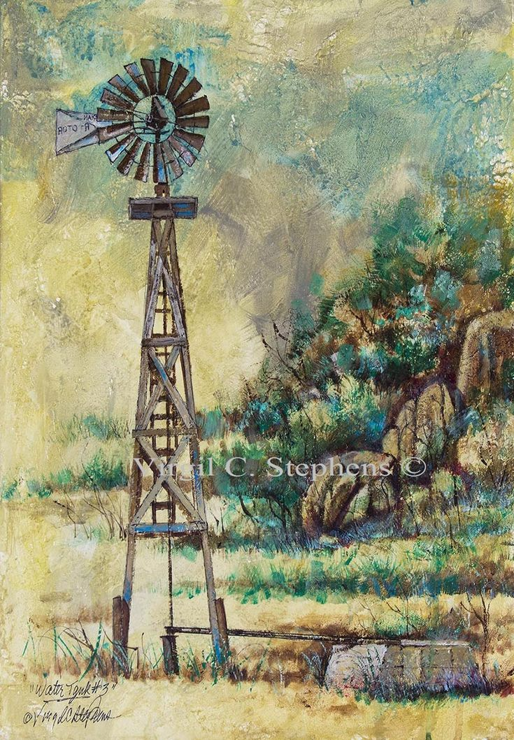Watertank #3 windmill art by Virgil C. Stephens