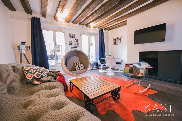 Гостиная с камином и мебелью разных эпох.  (квартиры,апартаменты,мебель,интерьер,дизайн интерьера,эклектика,смешение стилей,средиземноморский,средиземноморский интерьер,средиземноморский дом,средиземноморский стиль,индустриальный,лофт,винтаж,стиль лофт,индустриальный стиль,1950-70е,середина 20-го века,медисенчери,медисенчери модерн,гостиная,дизайн гостиной,интерьер гостиной,мебель для гостиной) .