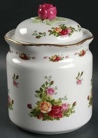 Large Canister in the Old Country Roses pattern by Royal Albert China