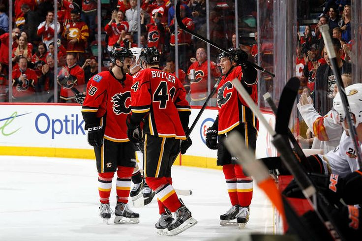 Corban Knight   -  first goal   -   NHL     -     Flames vs. Ducks - 12/03/2014 - Calgary Flames - Photos